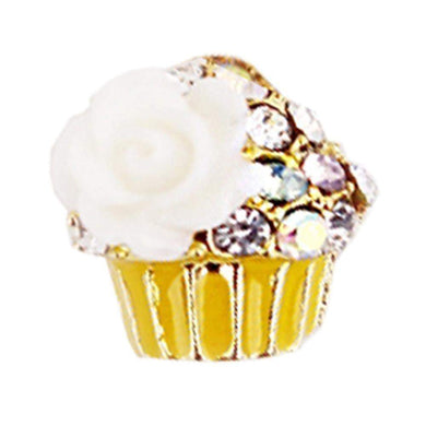 Fuschia Nail Art - Cupcake -  Yellow