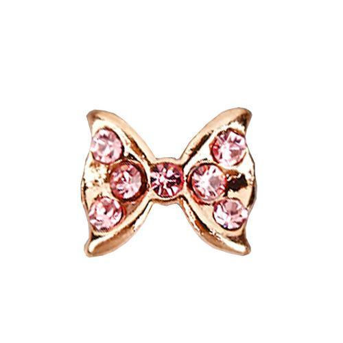 Fuschia Nail Art - Crystal Mini Bow - Bronze