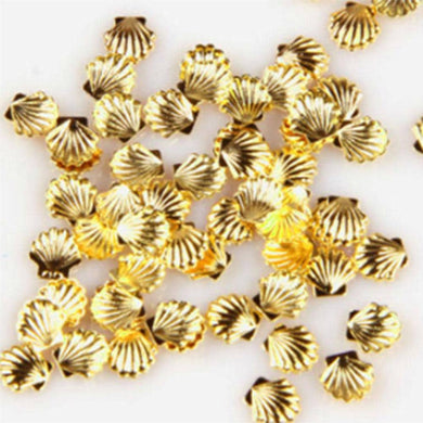 Fuschia Nail Art - Seashell Studs - Large Gold