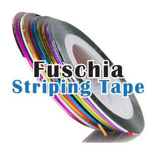 Fuschia Nail Wraps - Striping Tape - Hologram Silver