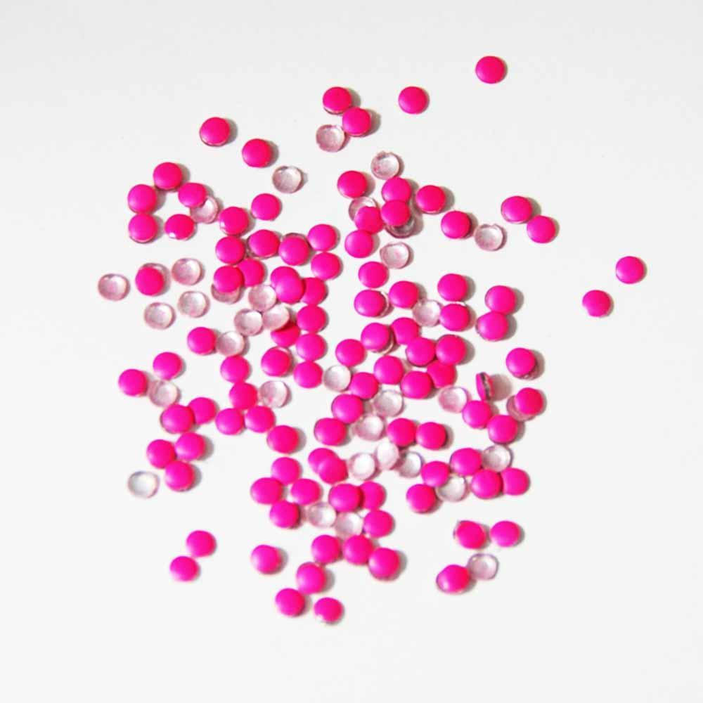 Fuschia Nail Art - Neon Pink Studs - Small Circle