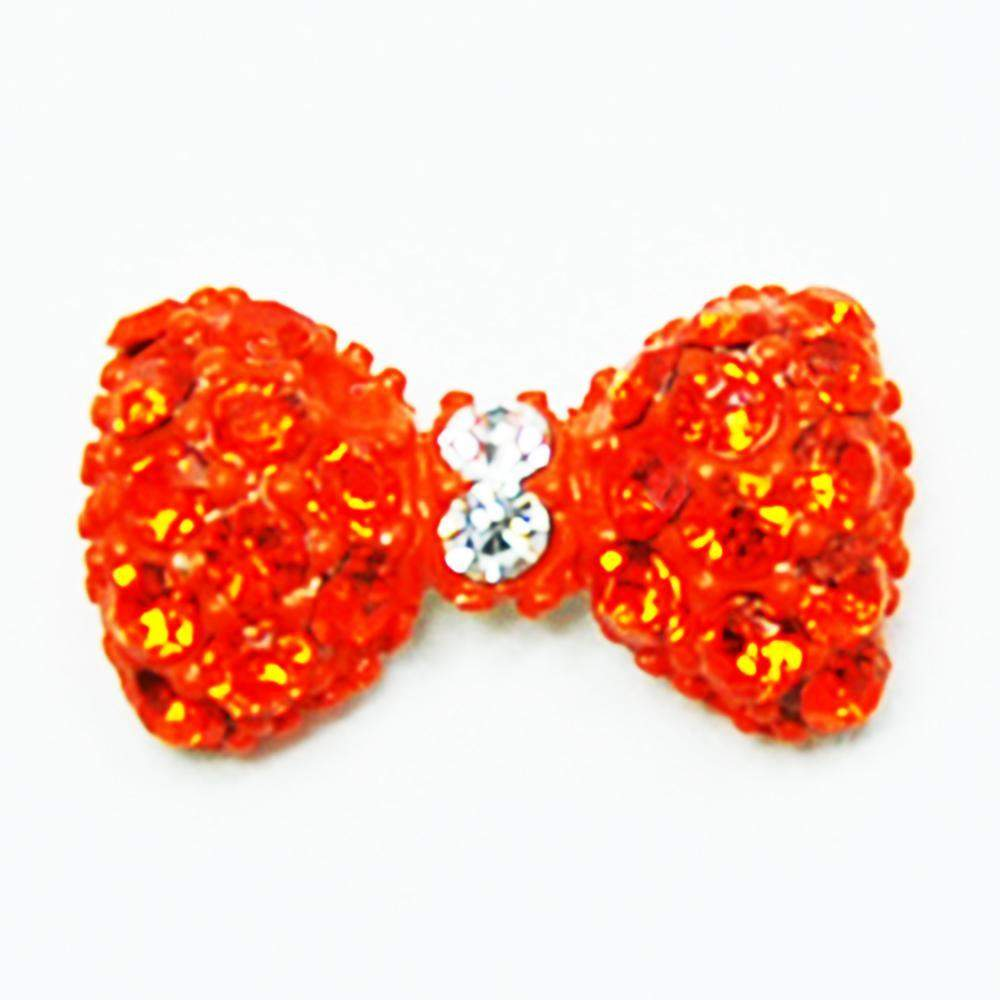 Fuschia Nail Art - Crystal Bow - Neon Orange