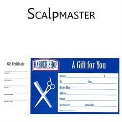 SCALPMASTER 50 Barber Shop Gift Certificates