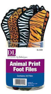 DL Pro - Animal Print Foot Files 24pc Container - Cheetah, Tiger, and Zebra