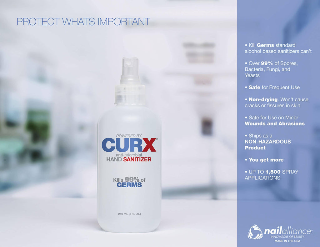 Nail Harmony, CurX Hand Sanitizer Spray - FDA Approved Anti-Microbial & Anti-Bacterial, Mk Beauty Club, Sanitizer