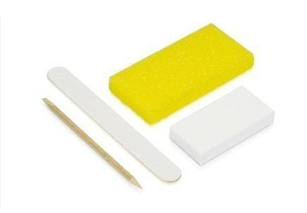 Disposable Pedicure 4pc Kit - Nail File, Pumice Pad, Buffer & WoodStick
