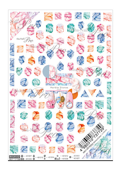 Sha Nail Pro Nail Art Transfer Sticker Decals - Marble Stones