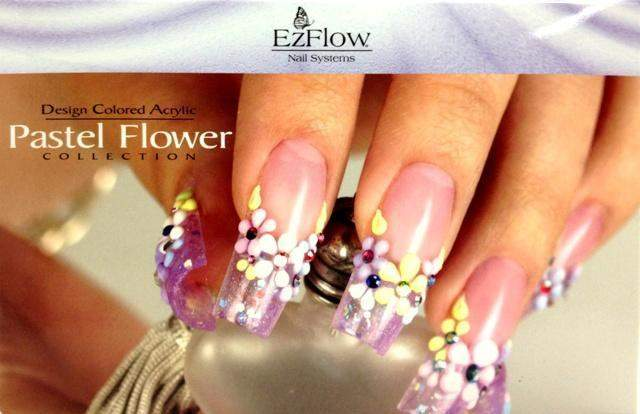 Ez Flow, Ez Flow Colored Acrylic Collection - Pastel Flower Kit, Mk Beauty Club, Colored Acrylic Powder