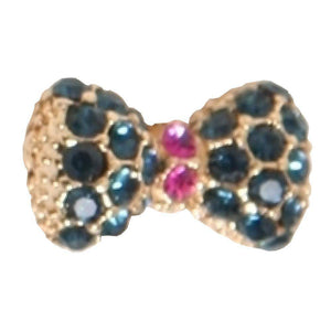 Fuschia Nail Art - Crystal Bow - Dark Green/Gold