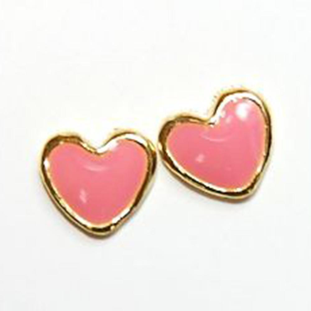 Fuschia Nail Art - Flat Heart - Gold/Pink