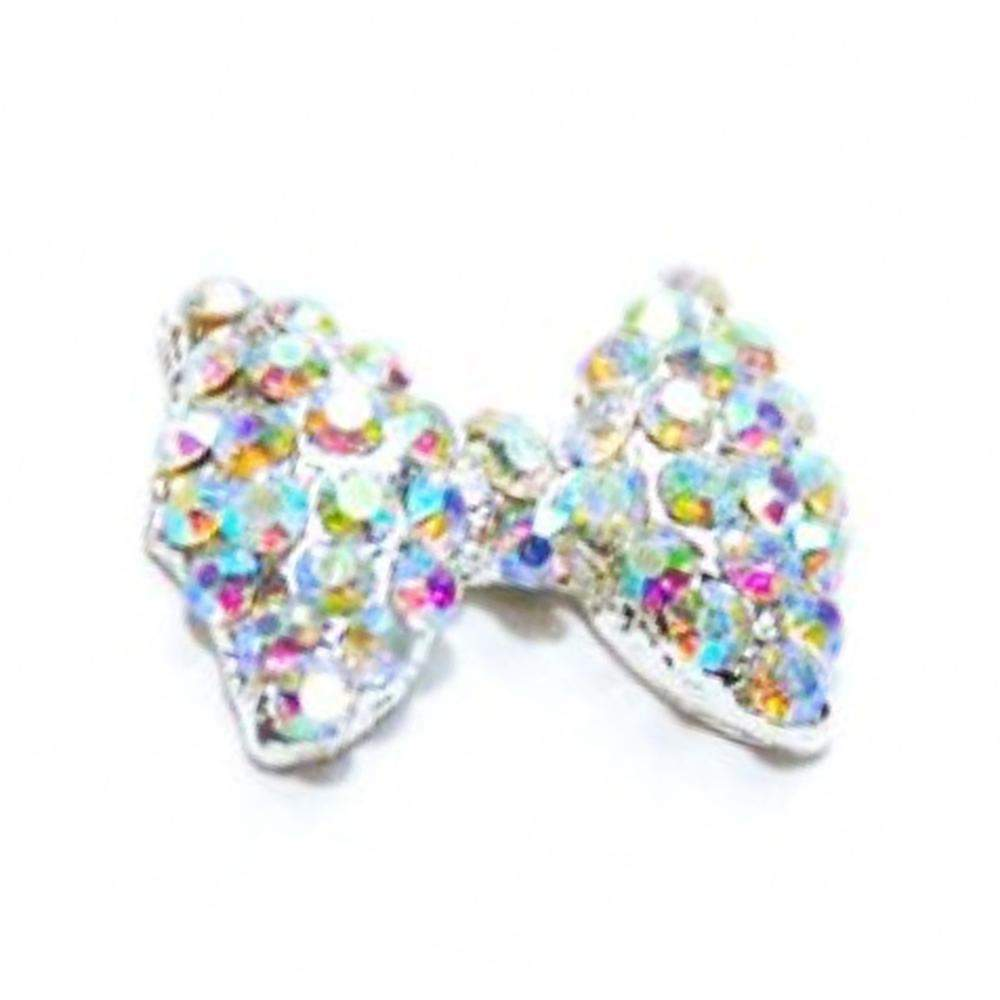 Fuschia, Fuschia Nail Art Charms - Crystal Glam Bow - Aurora/Silver, Mk Beauty Club, Nail Art Charms