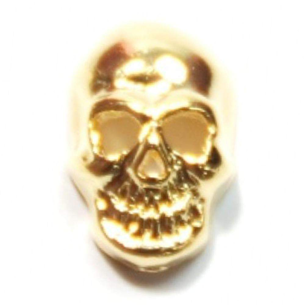 Fuschia, Fuschia Nail Art - Skull - Gold, Mk Beauty Club, Nail Art