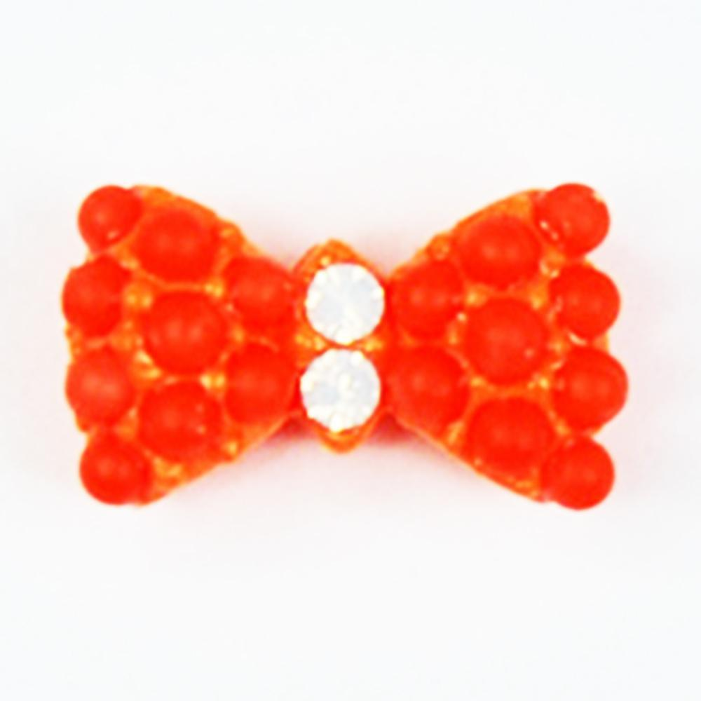 Fuschia, Fuschia Nail Art Charms - Neon Stud Bow - Orange, Mk Beauty Club, Nail Art Charms