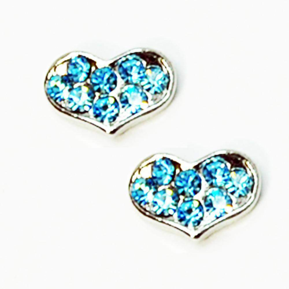 Fuschia Nail Art - Heart Small - Silver/Blue