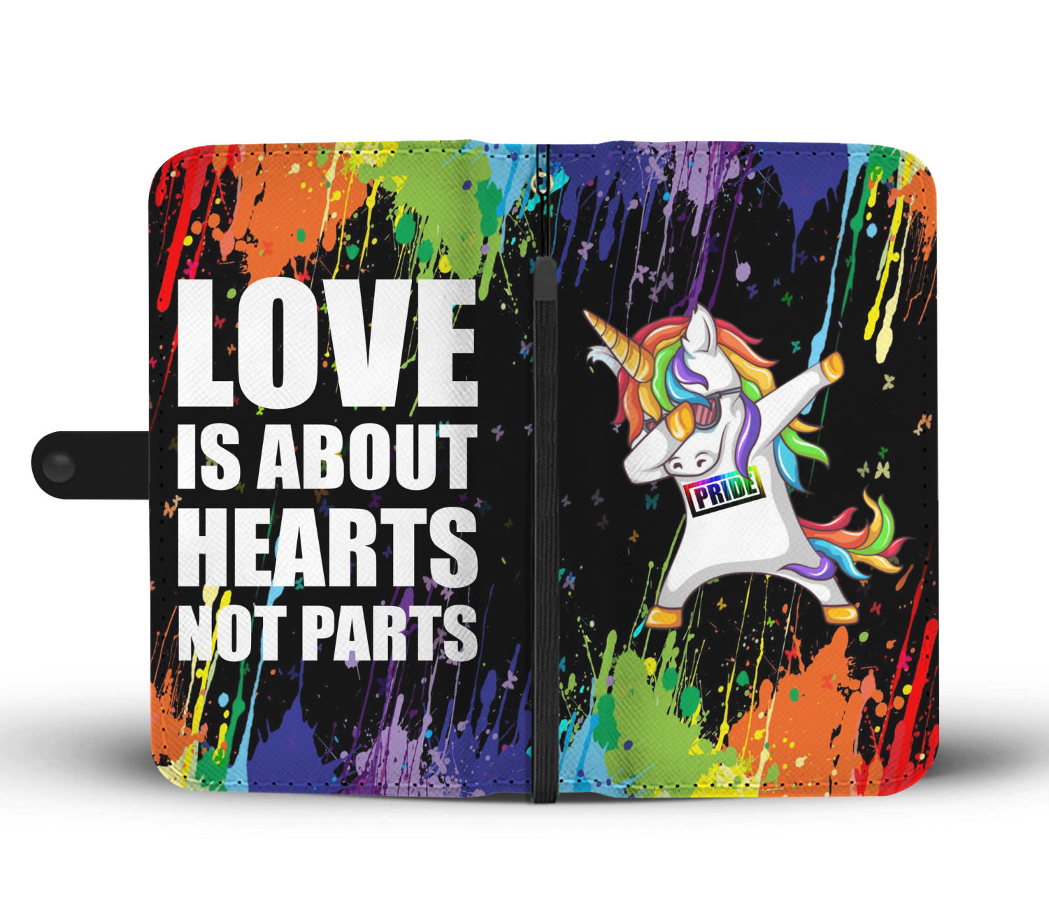 promo code af168 fc20a Dabbing Unicorn - Love is about hearts not parts Wallet Phone Case