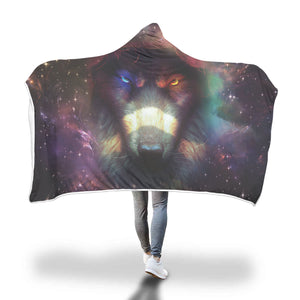 3D Fire & Ice Wolf Hooded Blanket Hooded Blanket