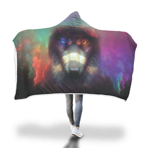 Wolf Art 3D Full Printing Hooded Blanket Hooded Blanket