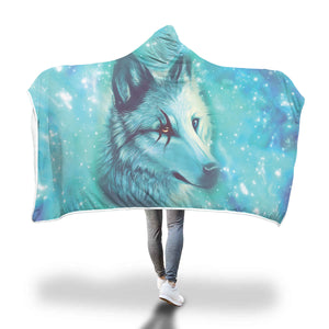 Beautiful Wolf Hooded Blanket Hooded Blanket