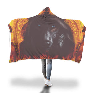 Fire Wolf Hooded Blanket Hooded Blanket