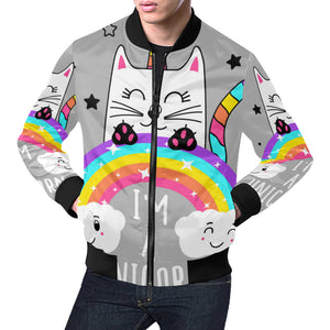 Cute cat unicorn bomber jacket All Over Print Bomber Jacket for Men (H19)
