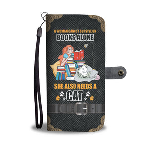 Books & Cat Wallet Phone Case Wallet Case