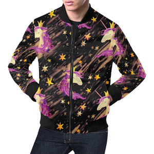 Watercolor unicorn seamless pattern bomber jacket All Over Print Bomber Jacket for Men (H19)