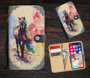 Watercolor horse wallet phone case