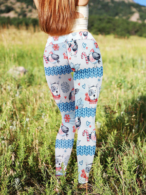 Christmas Dog And Bird Leggings AllOverFrint