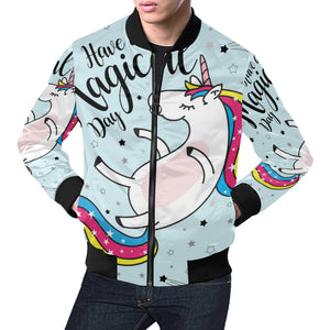 cute magical unicorn 1 All Over Print Bomber Jacket for Men (Model H19)