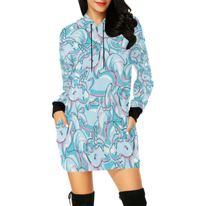 Unicorn All Over Print Hoodie Mini Dress All Over Print Hoodie Mini Dress (H27)