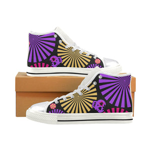 Skull Pattern Women's Classic High Top Canvas Shoes (Model 017)