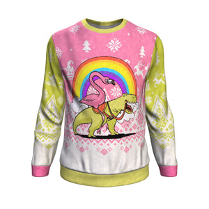 Flamingo Riding T-rex Sweatshirt Sweatshirt
