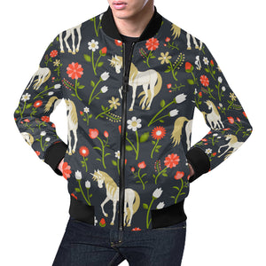 floral pattern with magic unicorns All Over Print Bomber Jacket for Men (Model H19)