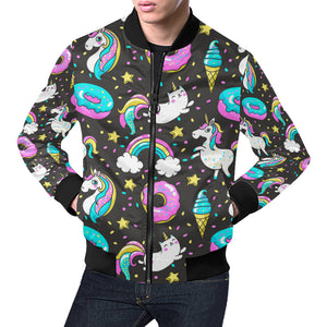 Seamless Pattern with Unicorns Donuts Rainbow Bomber Jacket All Over Print Bomber Jacket for Men (H19)