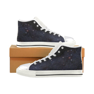Unicorn constellation in deep space sky Women's Classic High Top Canvas Shoes (Model 017)