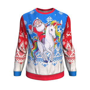 Santa Riding Unicorn Sweatshirt Sweatshirt