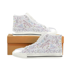 Watercolor pattern unicorns Women's Classic High Top Canvas Shoes (Model 017) Women's High Top Canvas Shoes (017)
