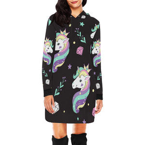 Beautiful unicorns and diamonds All Over Print Hoodie Mini Dress All Over Print Hoodie Mini Dress (H27)
