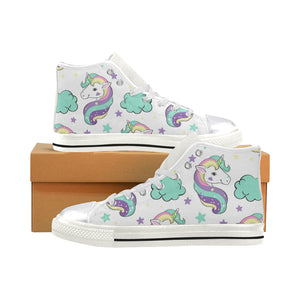 Unicorn in the clouds Pop Art Women's Classic High Top Canvas Shoes (Model 017)