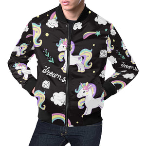 Beautiful unicorns and clouds All Over Print Bomber Jacket for Men (Model H19)
