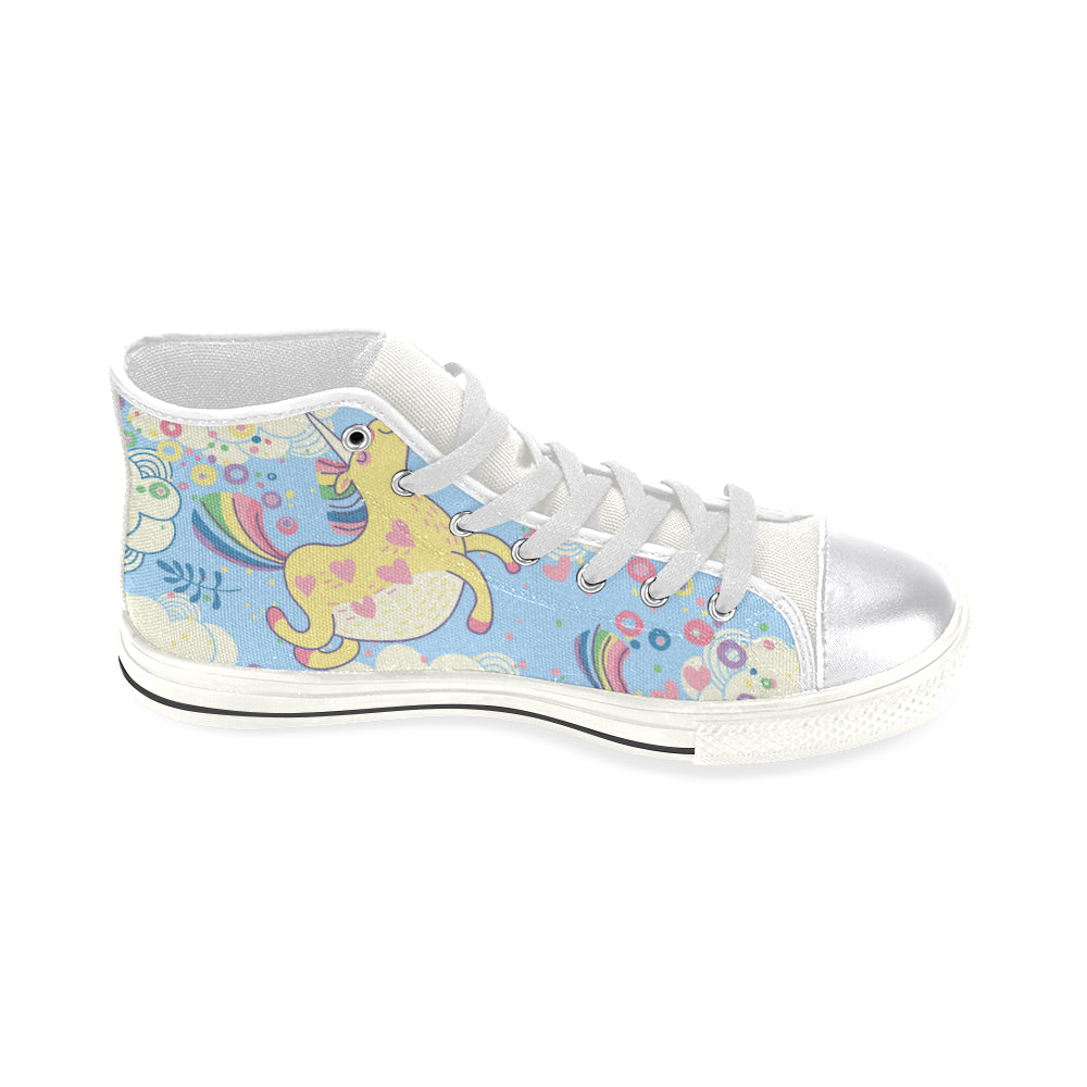 2261630c9e1b8 unicorn with rainbow Women's Classic High Top Canvas Shoes (Model 017)