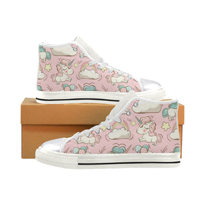 Vector pattern with cute unicorns Women's Classic High Top Canvas Shoes (Model 017)