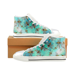 Watercolour Bees Women's Classic High Top Canvas Shoes (Model 017)