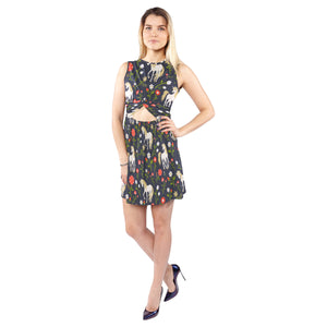 Floral pattern with magic unicorns Sleeveless Cutout Waist Knotted Dress Sleeveless Cutout Waist Knotted Dress (D39)