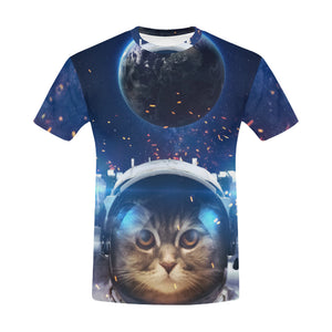 Beautiful cat in out space All Over Print T-Shirt for Men All Over Print T-Shirt for Men (T40)