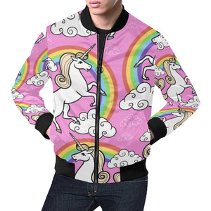Unicorn with rainbow and clouds All Over Print Bomber Jacket for Men (Model H19)