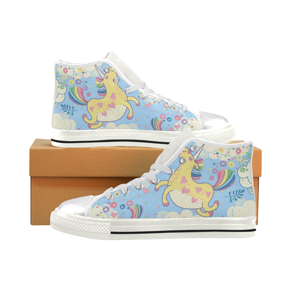 bf20f4e87 unicorn with rainbow Women's Classic High Top Canvas Shoes (Model ...