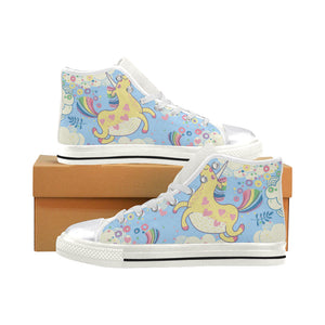 unicorn with rainbow Women's Classic High Top Canvas Shoes (Model 017)