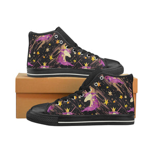 Watercolor unicorn seamless pattern Women's Classic High Top Canvas Shoes (Model 017)