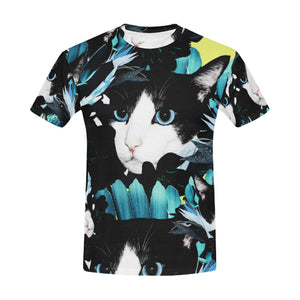 Floral pattern with roses and cats All Over Print T-Shirt for Men All Over Print T-Shirt for Men (T40)